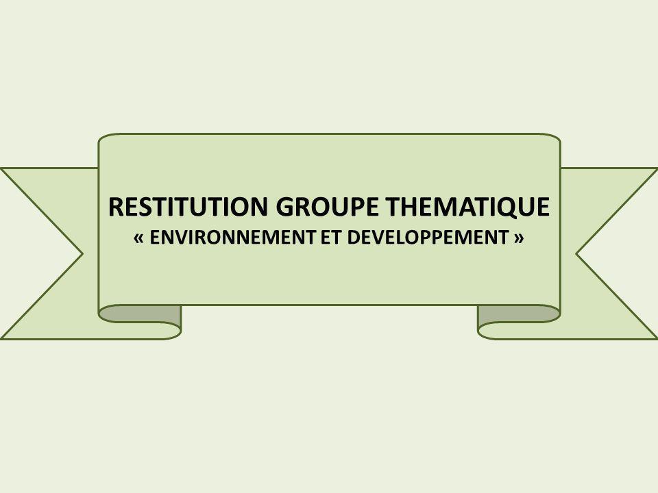 RESTITUTION GROUPE THEMATIQUE « ENVIRONNEMENT ET DEVELOPPEMENT »