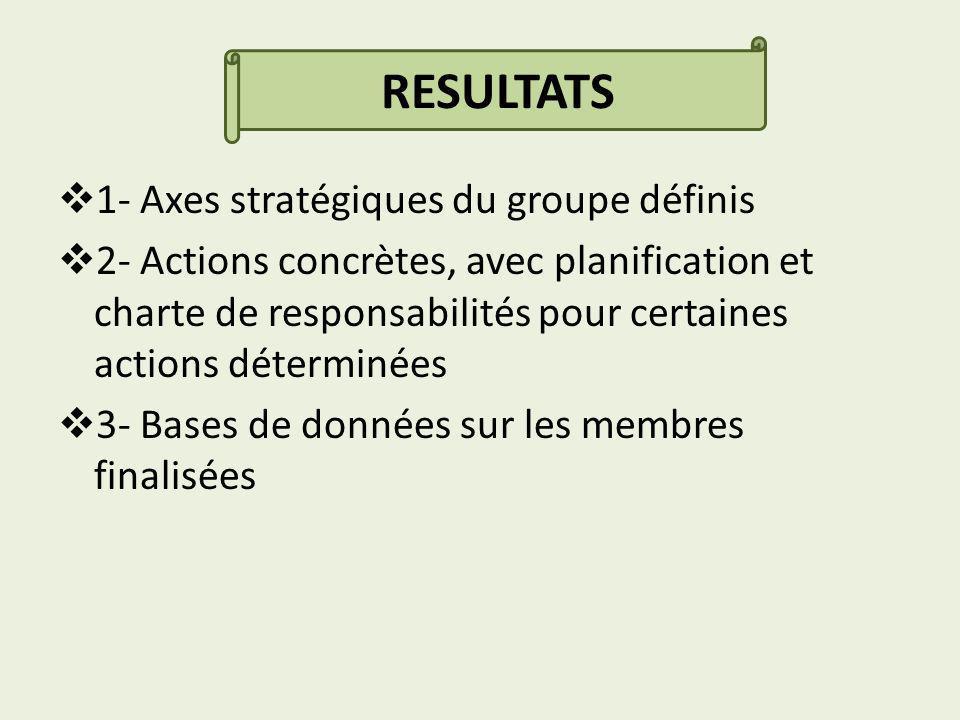 RESULTATS 1- Axes stratégiques du groupe définis 2- Actions concrètes, avec planification et charte de responsabilités pour certaines actions déterminées 3- Bases de données sur les membres finalisées