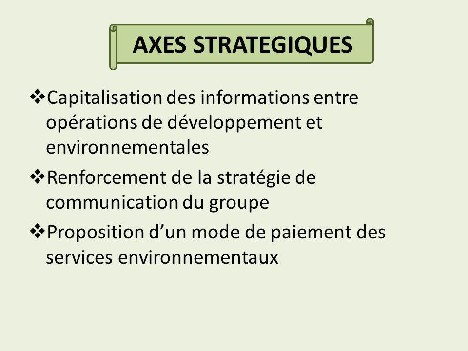 Capitalisation des informations entre opérations de développement et environnementales Renforcement de la stratégie de communication du groupe Proposition dun mode de paiement des services environnementaux AXES STRATEGIQUES