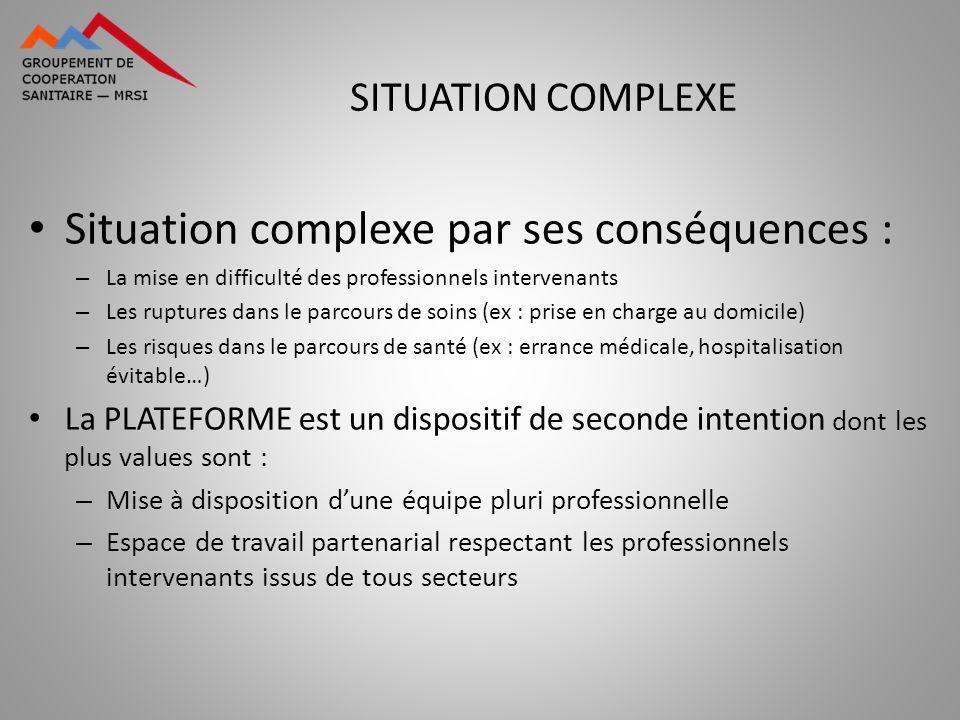Situation complexe par ses conséquences : – La mise en difficulté des professionnels intervenants – Les ruptures dans le parcours de soins (ex : prise