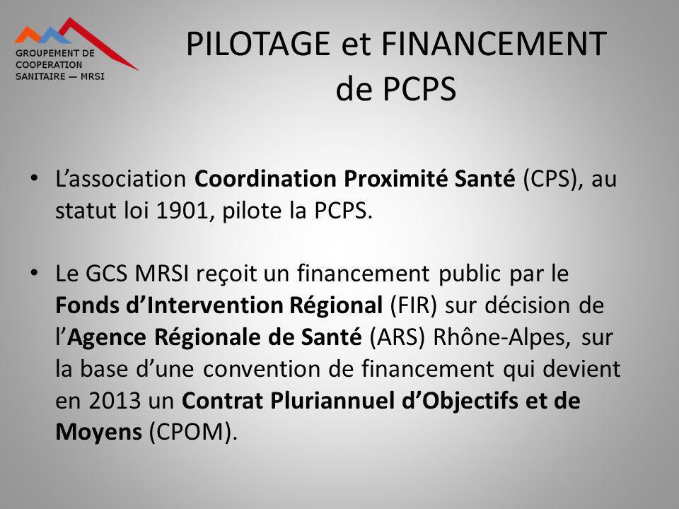 PILOTAGE et FINANCEMENT de PCPS Lassociation Coordination Proximité Santé (CPS), au statut loi 1901, pilote la PCPS. Le GCS MRSI reçoit un financement