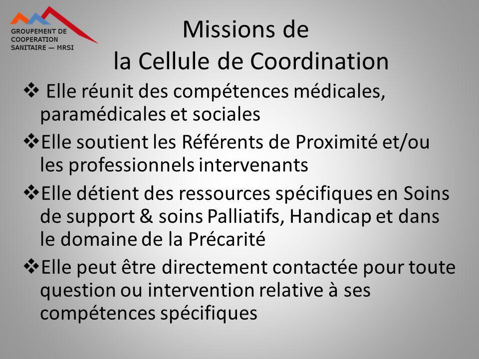 Elle réunit des compétences médicales, paramédicales et sociales Elle soutient les Référents de Proximité et/ou les professionnels intervenants Elle d