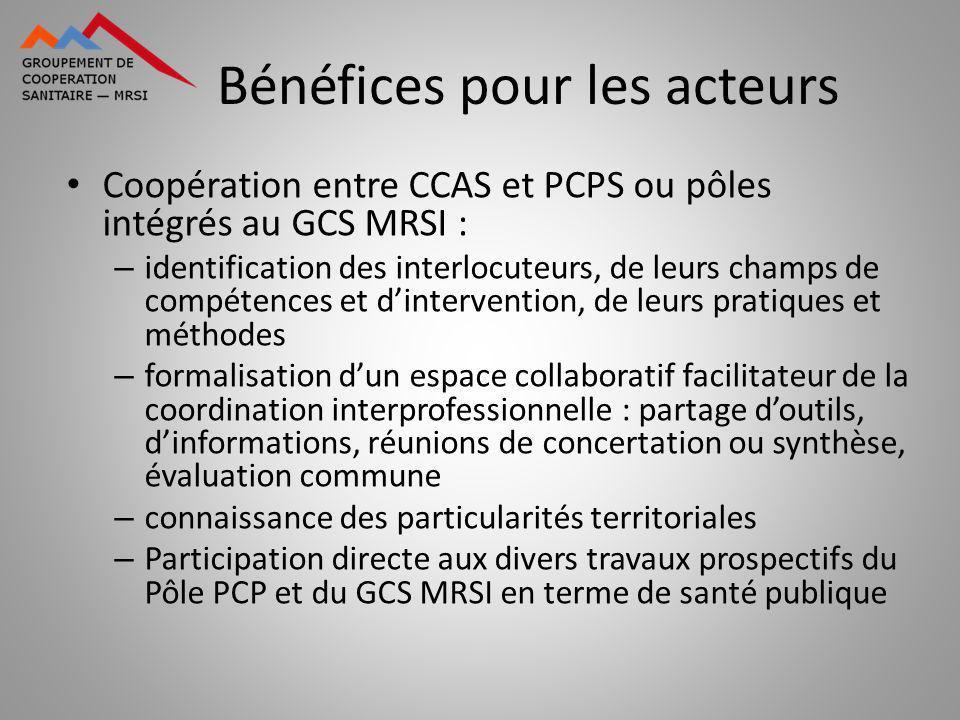 Bénéfices pour les acteurs Coopération entre CCAS et PCPS ou pôles intégrés au GCS MRSI : – identification des interlocuteurs, de leurs champs de comp