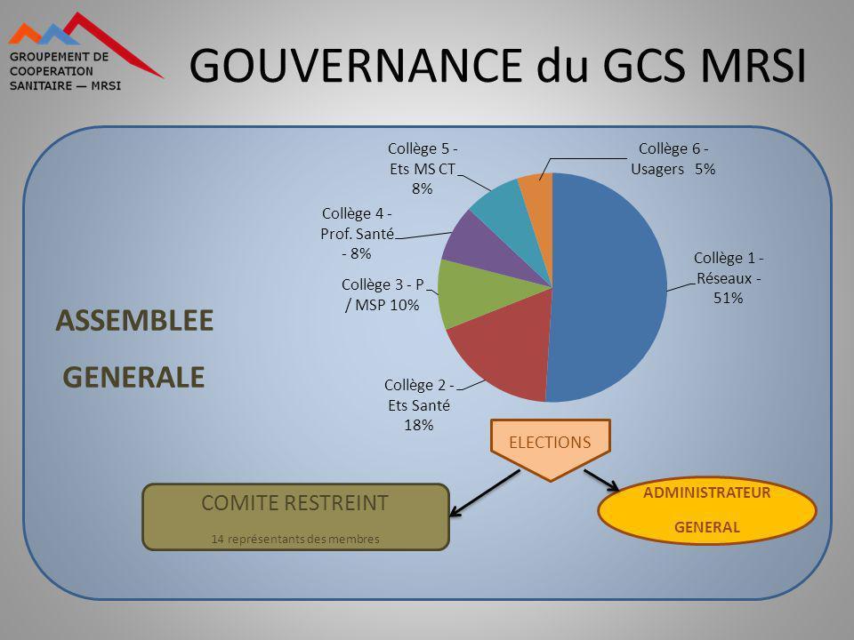 GOUVERNANCE du GCS MRSI ASSEMBLEE GENERALE COMITE RESTREINT 14 représentants des membres ELECTIONS ADMINISTRATEUR GENERAL