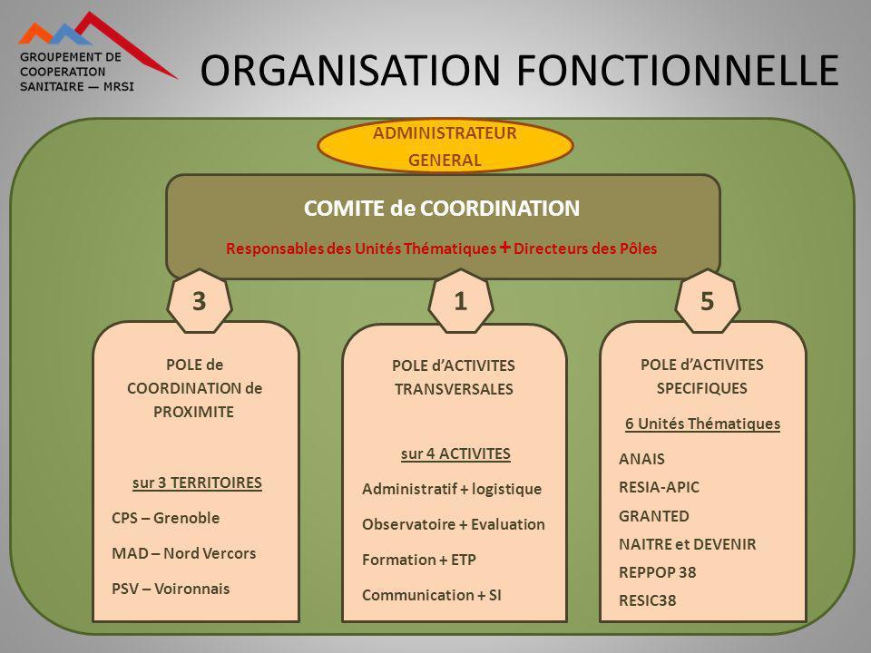 ORGANISATION FONCTIONNELLE COMITE de COORDINATION Responsables des Unités Thématiques + Directeurs des Pôles ADMINISTRATEUR GENERAL POLE de COORDINATI
