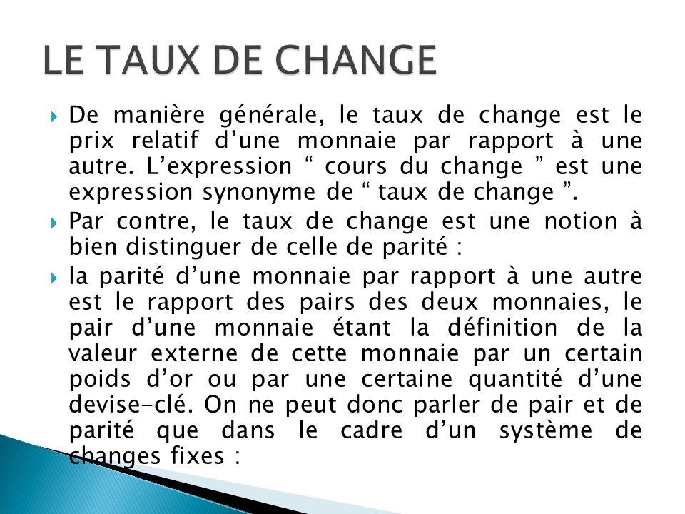 De manière générale, le taux de change est le prix relatif dune monnaie par rapport à une autre. Lexpression cours du change est une expression synony