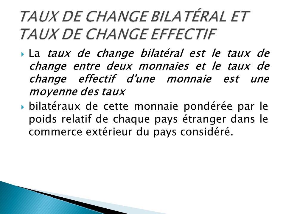 La taux de change bilatéral est le taux de change entre deux monnaies et le taux de change effectif d'une monnaie est une moyenne des taux bilatéraux