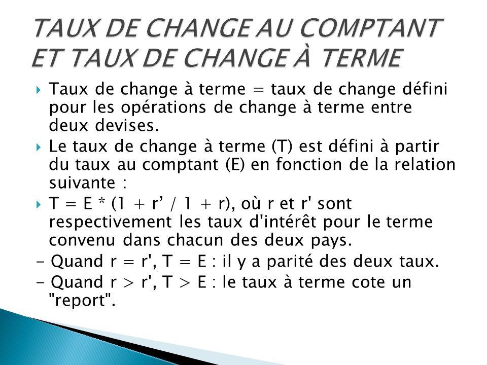Taux de change à terme = taux de change défini pour les opérations de change à terme entre deux devises. Le taux de change à terme (T) est défini à pa