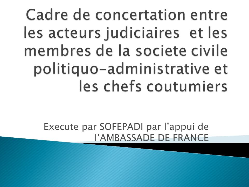 Execute par SOFEPADI par lappui de lAMBASSADE DE FRANCE