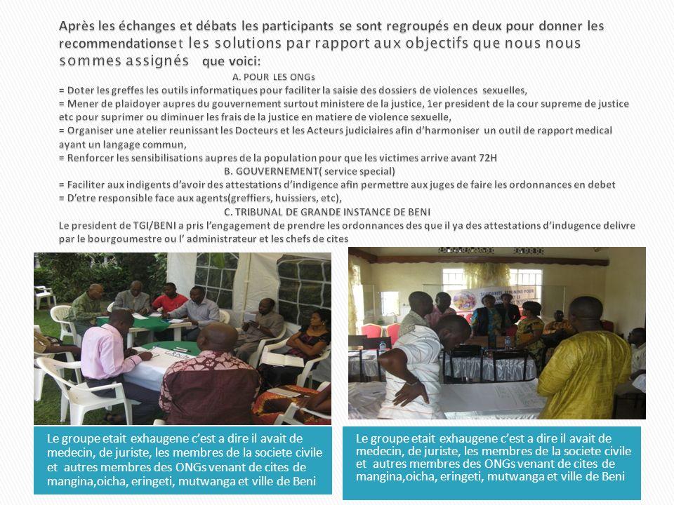 Le groupe etait exhaugene cest a dire il avait de medecin, de juriste, les membres de la societe civile et autres membres des ONGs venant de cites de mangina,oicha, eringeti, mutwanga et ville de Beni
