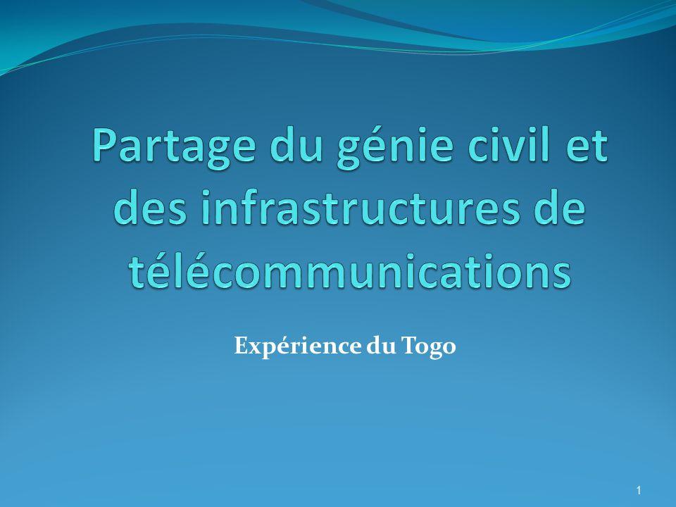 Cas de partages enregistrés (suite) Pratiques entre Togo Telecom et les autres opérateurs (suite) Avec Togo Telecom, les autres opérateurs partagent : des liaisons de transmission ; des fibres optiques sèches ; des fourreaux pour la fibre optique ; des salles techniques.