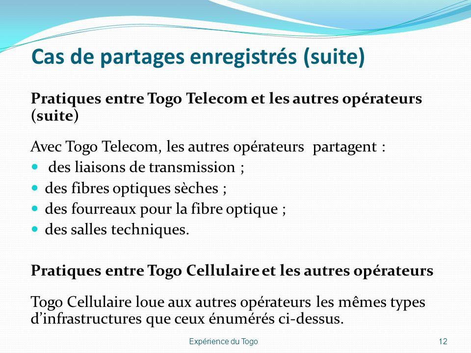 Cas de partages enregistrés (suite) Pratiques entre Togo Telecom et les autres opérateurs (suite) Avec Togo Telecom, les autres opérateurs partagent :
