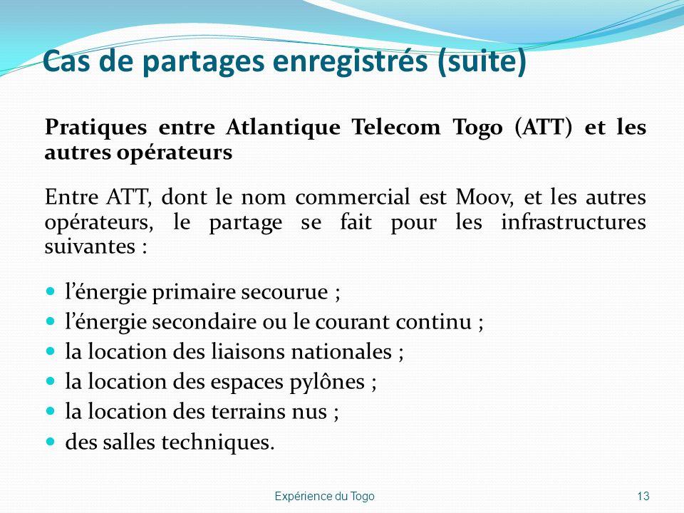 Cas de partages enregistrés (suite) Pratiques entre Atlantique Telecom Togo (ATT) et les autres opérateurs Entre ATT, dont le nom commercial est Moov,