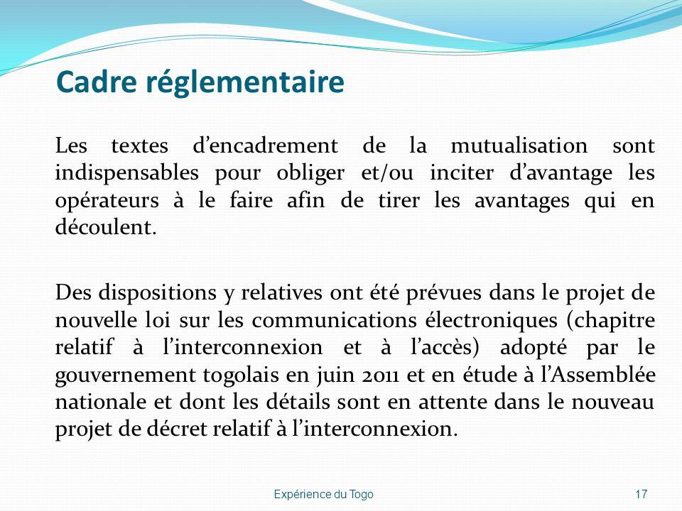 Cadre réglementaire Les textes dencadrement de la mutualisation sont indispensables pour obliger et/ou inciter davantage les opérateurs à le faire afi