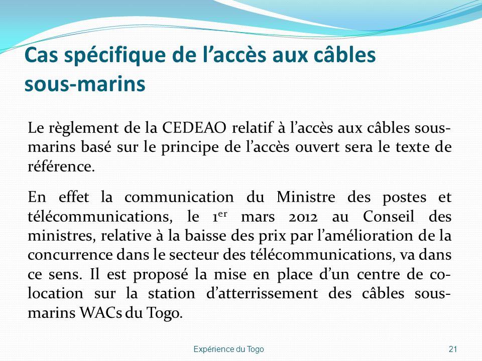 Cas spécifique de laccès aux câbles sous-marins Le règlement de la CEDEAO relatif à laccès aux câbles sous- marins basé sur le principe de laccès ouve