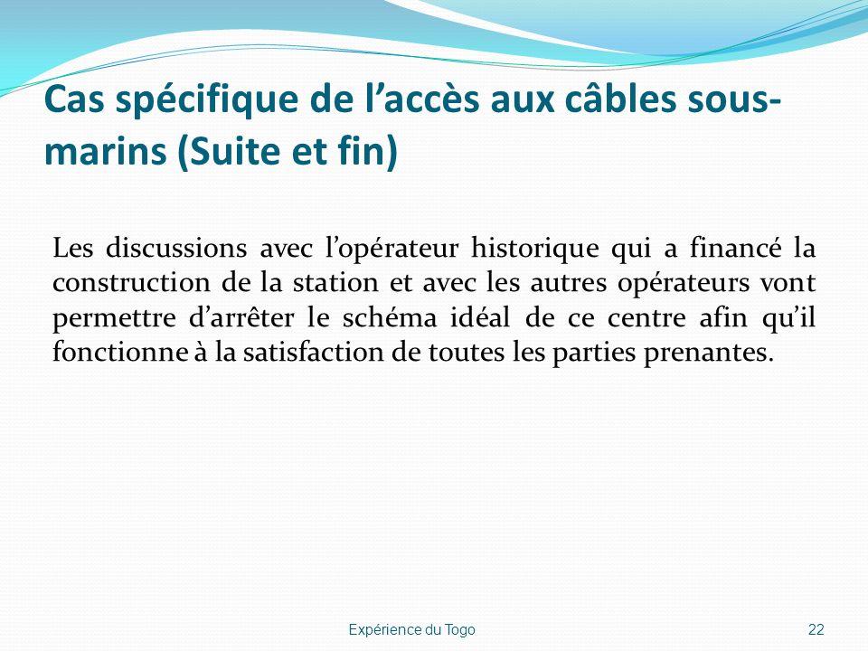 Cas spécifique de laccès aux câbles sous- marins (Suite et fin) Les discussions avec lopérateur historique qui a financé la construction de la station