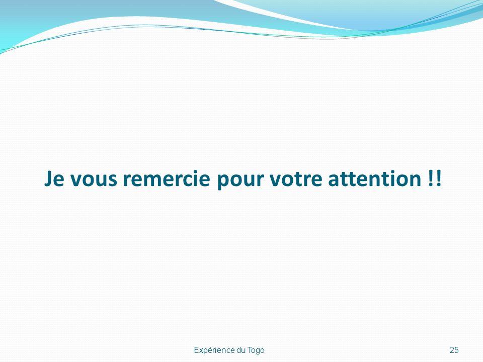 Je vous remercie pour votre attention !! 25Expérience du Togo