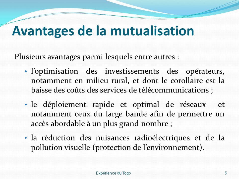 Avantages de la mutualisation Plusieurs avantages parmi lesquels entre autres : loptimisation des investissements des opérateurs, notamment en milieu