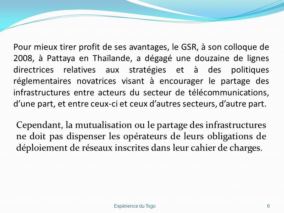 Cadre réglementaire Les textes dencadrement de la mutualisation sont indispensables pour obliger et/ou inciter davantage les opérateurs à le faire afin de tirer les avantages qui en découlent.