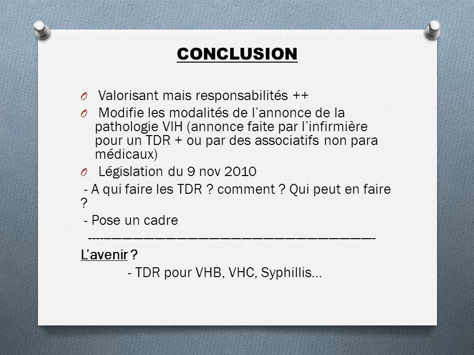CONCLUSION O Valorisant mais responsabilités ++ O Modifie les modalités de lannonce de la pathologie VIH (annonce faite par linfirmière pour un TDR + ou par des associatifs non para médicaux) O Législation du 9 nov 2010 - A qui faire les TDR .