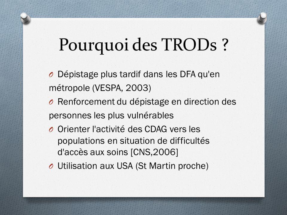 Pourquoi des TRODs ? O Dépistage plus tardif dans les DFA qu'en métropole (VESPA, 2003) O Renforcement du dépistage en direction des personnes les plu
