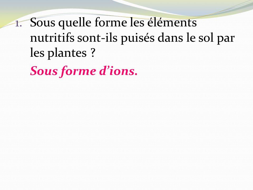 1.Sous quelle forme les éléments nutritifs sont-ils puisés dans le sol par les plantes ? Sous forme dions.