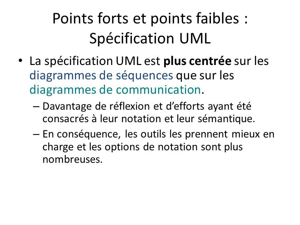 Points forts et points faibles : Spécification UML La spécification UML est plus centrée sur les diagrammes de séquences que sur les diagrammes de com