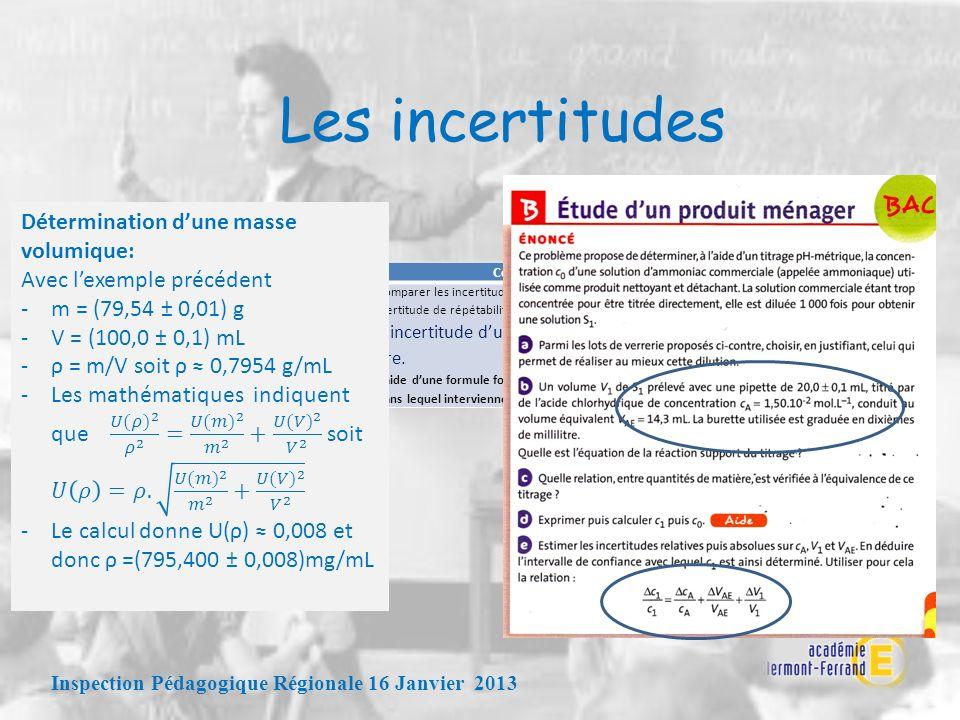 Les incertitudes Inspection Pédagogique Régionale 16 Janvier 2013 Notions et contenusCompétences expérimentales exigibles Incertitudes et notions asso