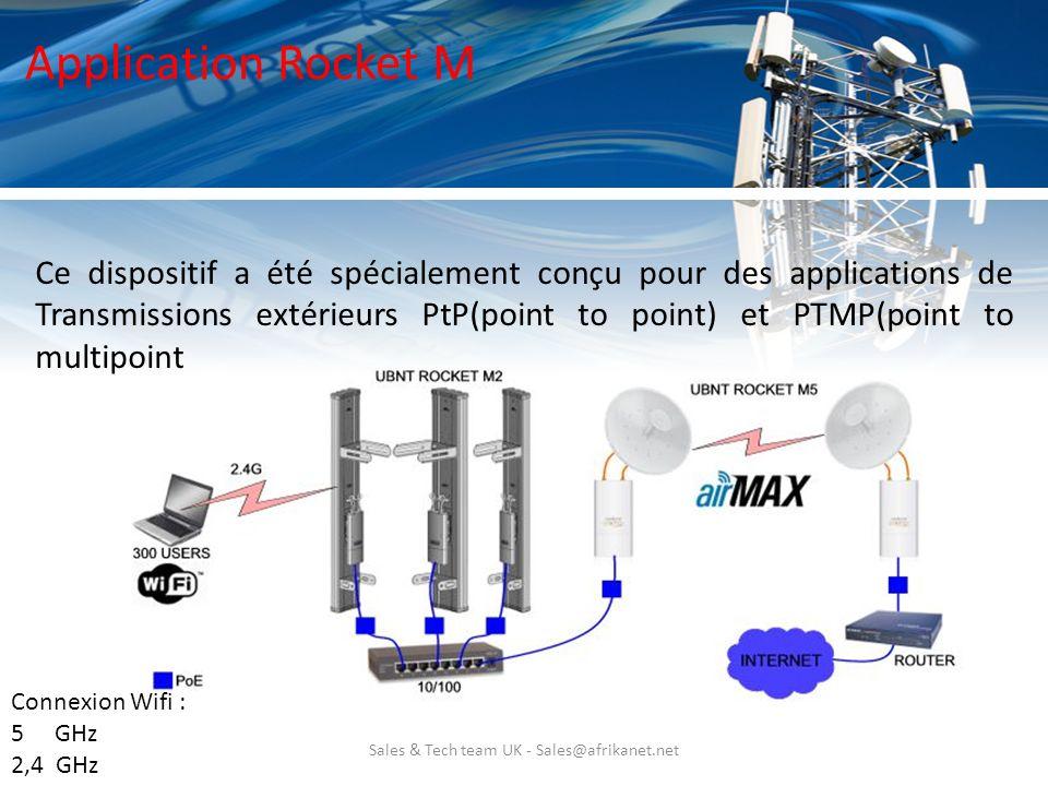 Sales & Tech team UK - Sales@afrikanet.net Application Rocket M Ce dispositif a été spécialement conçu pour des applications de Transmissions extérieu