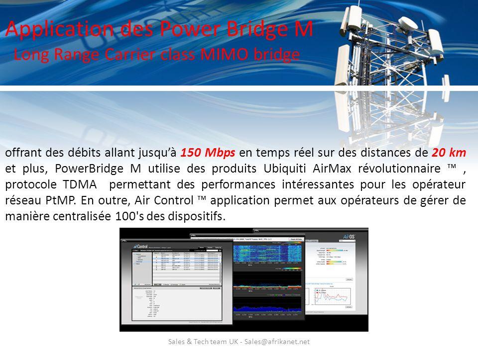 Sales & Tech team UK - Sales@afrikanet.net Application des Power Bridge M Long Range Carrier class MIMO bridge offrant des débits allant jusquà 150 Mb