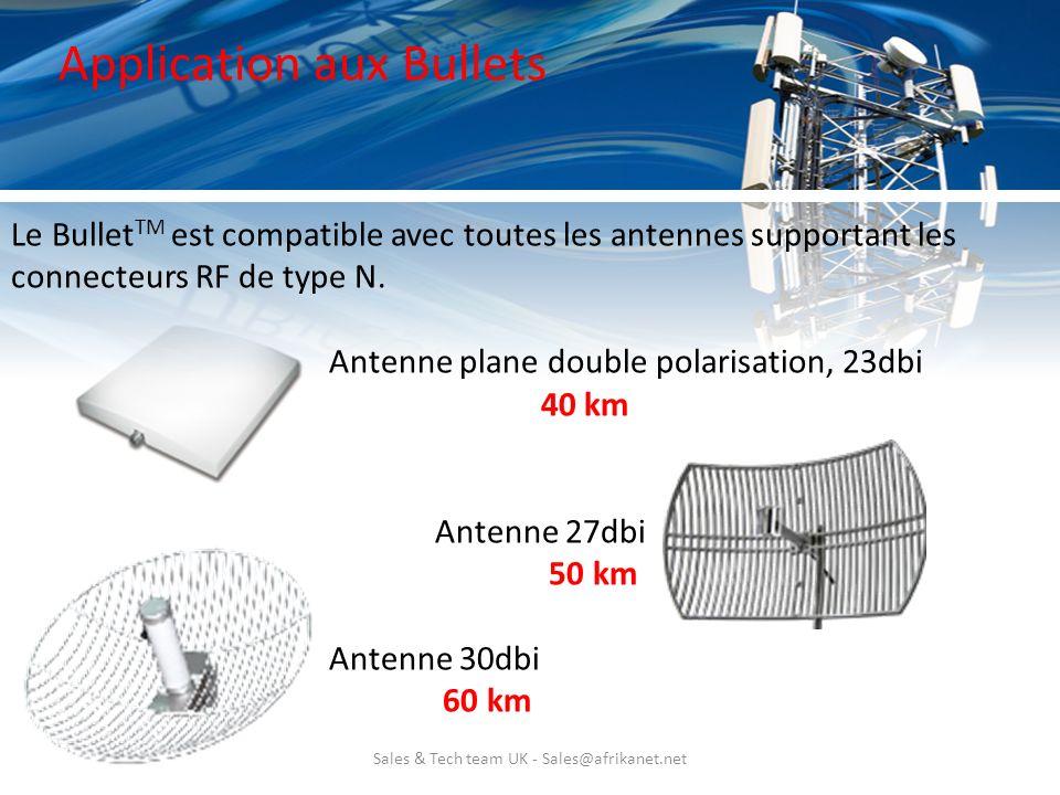 Sales & Tech team UK - Sales@afrikanet.net Application aux Bullets Le Bullet TM est compatible avec toutes les antennes supportant les connecteurs RF