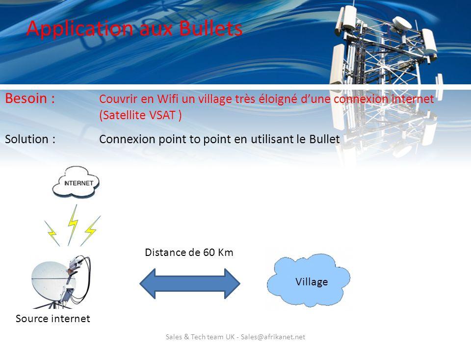 Sales & Tech team UK - Sales@afrikanet.net Application aux Bullets Solution : Connexion point to point en utilisant le Bullet Besoin : Couvrir en Wifi