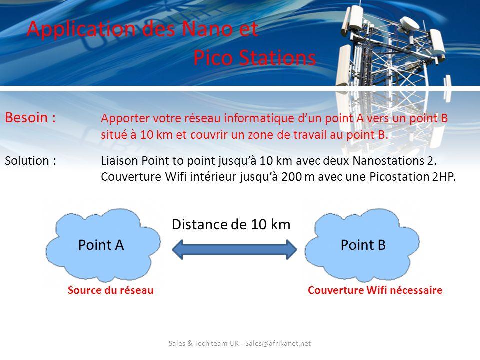Sales & Tech team UK - Sales@afrikanet.net Application des Nano et Pico Stations Solution : Liaison Point to point jusquà 10 km avec deux Nanostations