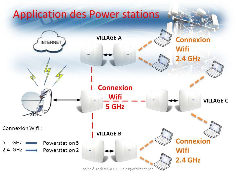 Sales & Tech team UK - Sales@afrikanet.net Application des Power stations VILLAGE A VILLAGE B VILLAGE C Connexion Wifi 5 GHz Connexion Wifi 2.4 GHz Co