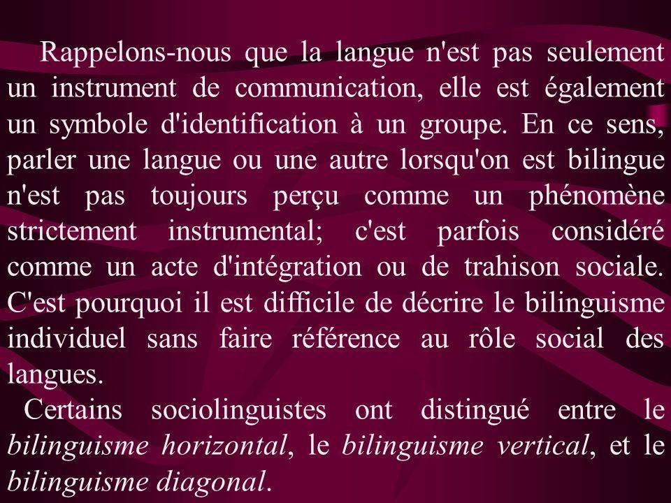Rappelons-nous que la langue n'est pas seulement un instrument de communication, elle est également un symbole d'identification à un groupe. En ce sen