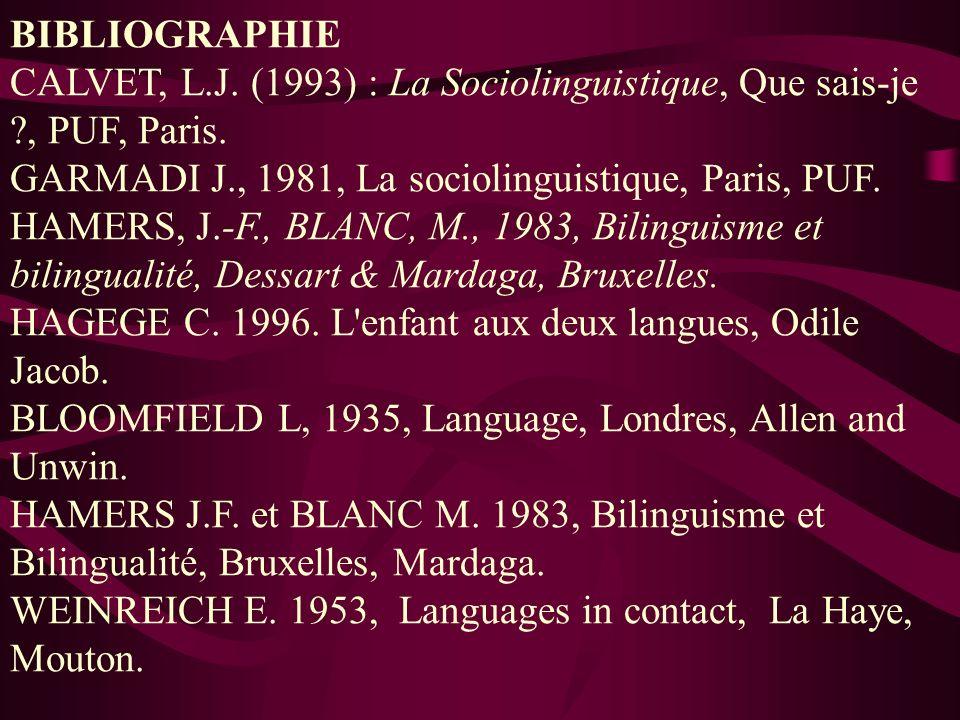 BIBLIOGRAPHIE CALVET, L.J. (1993) : La Sociolinguistique, Que sais-je ?, PUF, Paris. GARMADI J., 1981, La sociolinguistique, Paris, PUF. HAMERS, J.-F.