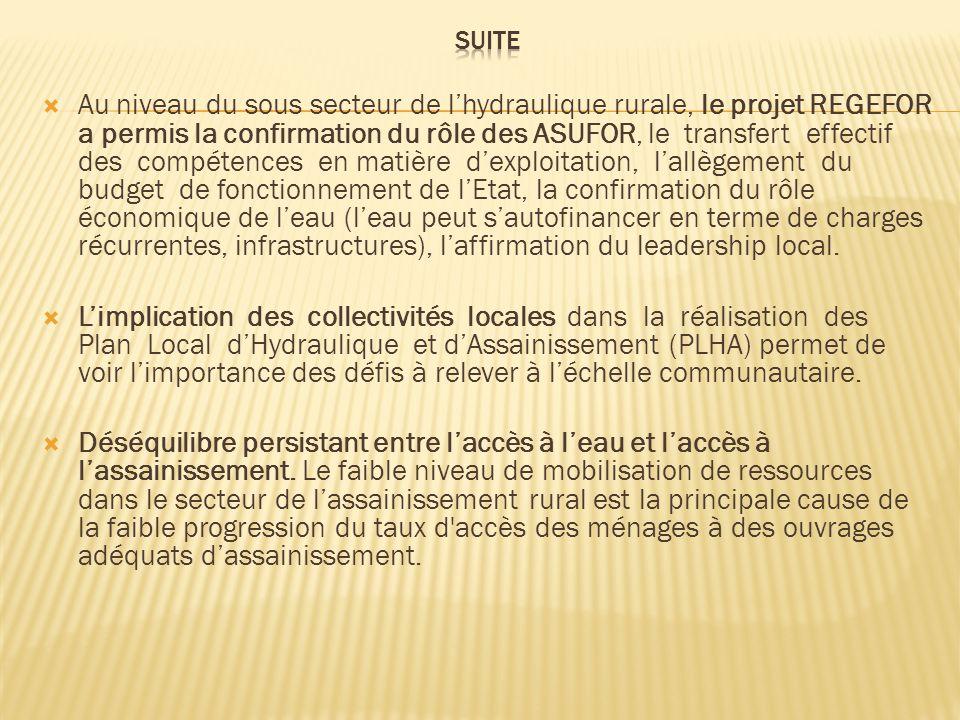 Au niveau du sous secteur de lhydraulique rurale, le projet REGEFOR a permis la confirmation du rôle des ASUFOR, le transfert effectif des compétences