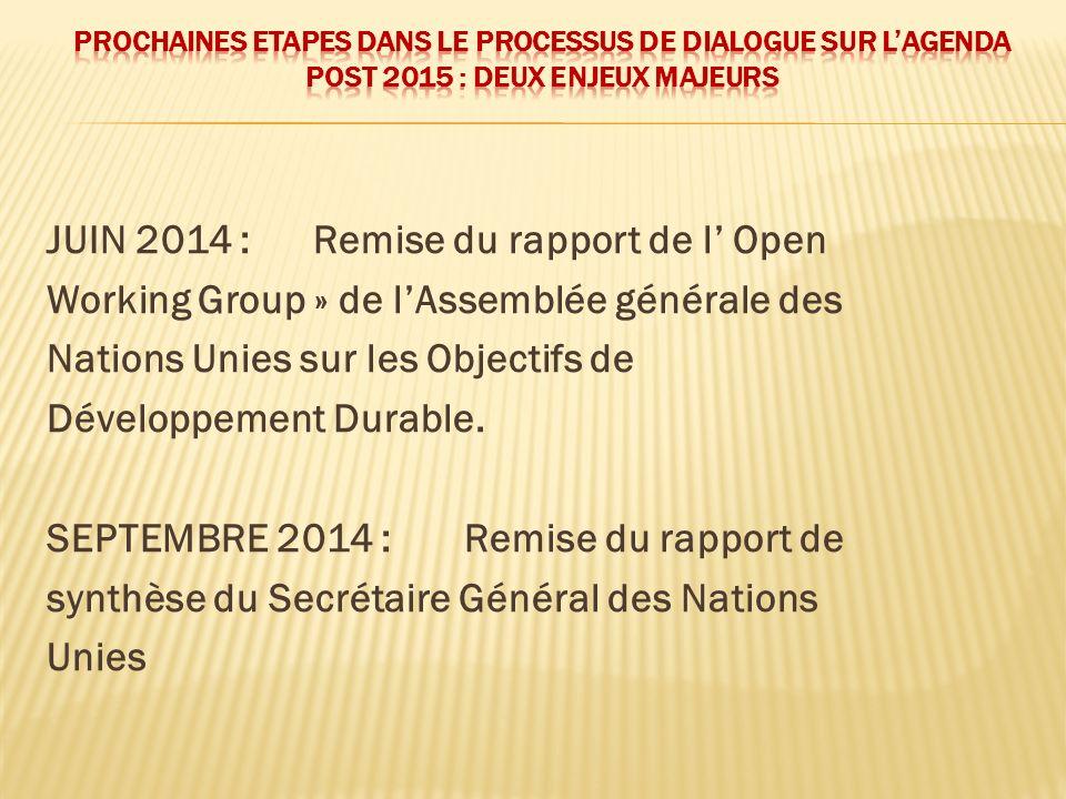 JUIN 2014 : Remise du rapport de l Open Working Group » de lAssemblée générale des Nations Unies sur les Objectifs de Développement Durable. SEPTEMBRE