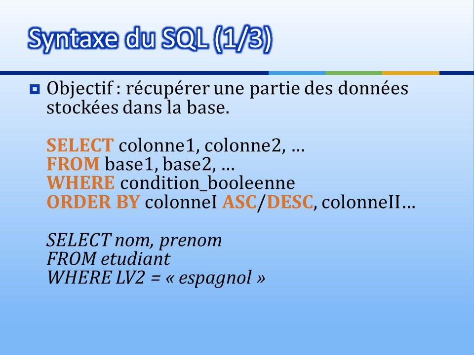 Objectif : récupérer une partie des données stockées dans la base. SELECT colonne1, colonne2, … FROM base1, base2, … WHERE condition_booleenne ORDER B