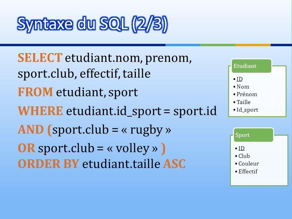 SELECT etudiant.nom, prenom, sport.club, effectif, taille FROM etudiant, sport WHERE etudiant.id_sport = sport.id AND (sport.club = « rugby » OR sport
