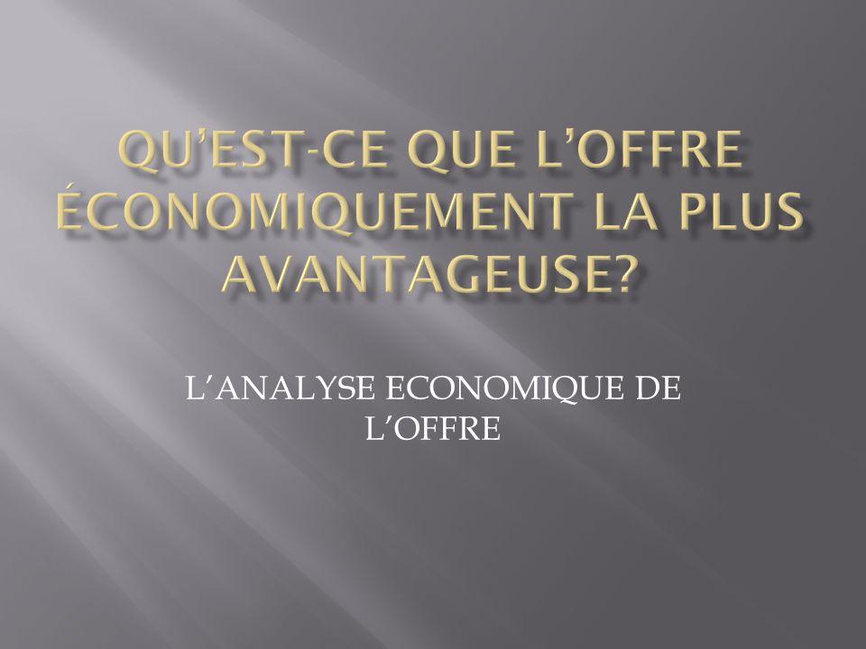 LANALYSE ECONOMIQUE DE LOFFRE