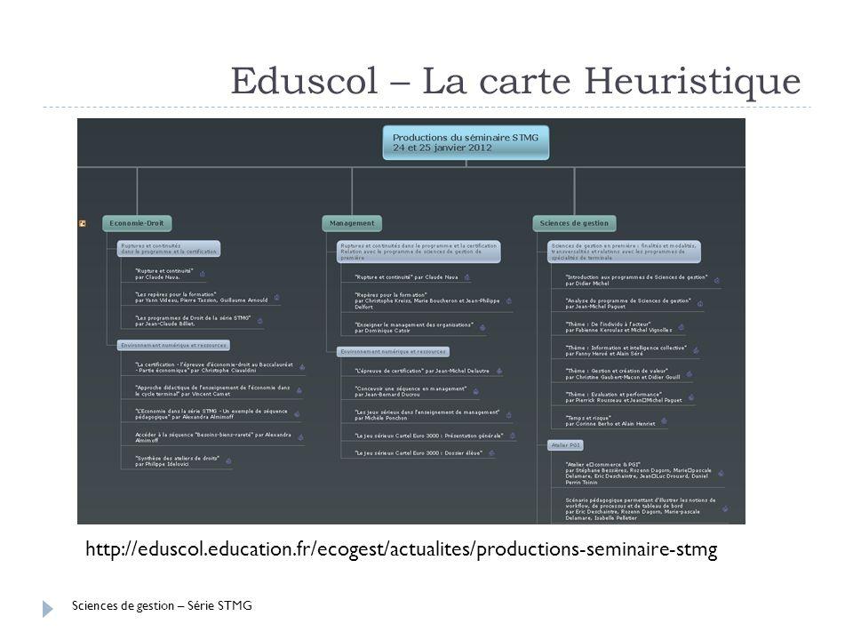 Sciences de gestion – Série STMG Eduscol – La carte Heuristique http://eduscol.education.fr/ecogest/actualites/productions-seminaire-stmg