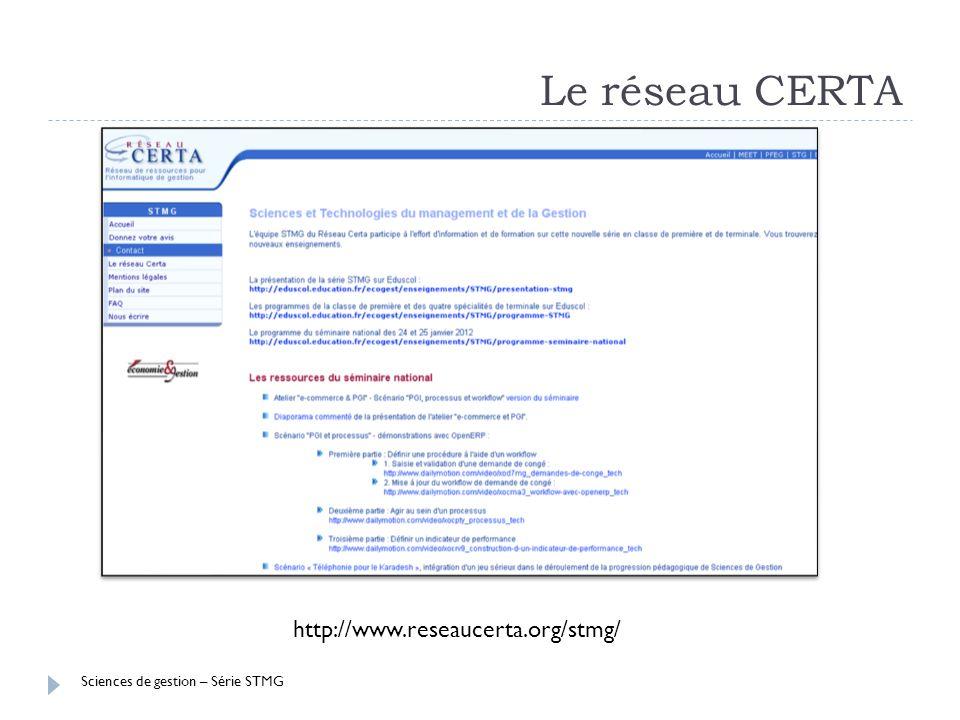 Sciences de gestion – Série STMG Le réseau CERTA http://www.reseaucerta.org/stmg/