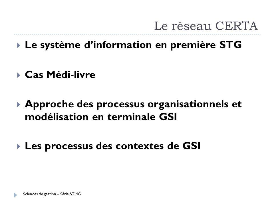 Sciences de gestion – Série STMG Le réseau CERTA Le système dinformation en première STG Cas Médi-livre Approche des processus organisationnels et mod