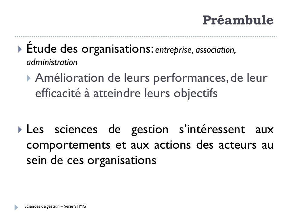 Sciences de gestion – Série STMG Préambule Étude des organisations: entreprise, association, administration Amélioration de leurs performances, de leu
