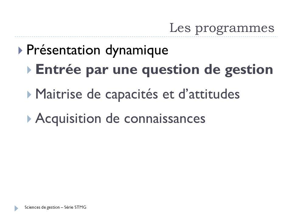 Sciences de gestion – Série STMG Les programmes Présentation dynamique Entrée par une question de gestion Maitrise de capacités et dattitudes Acquisit