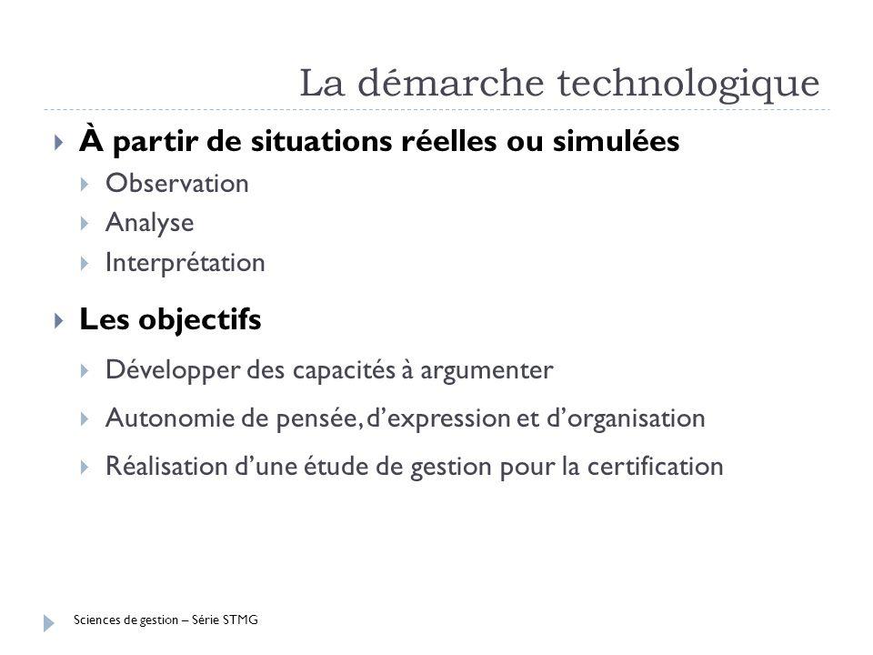 Sciences de gestion – Série STMG La démarche technologique À partir de situations réelles ou simulées Observation Analyse Interprétation Les objectifs