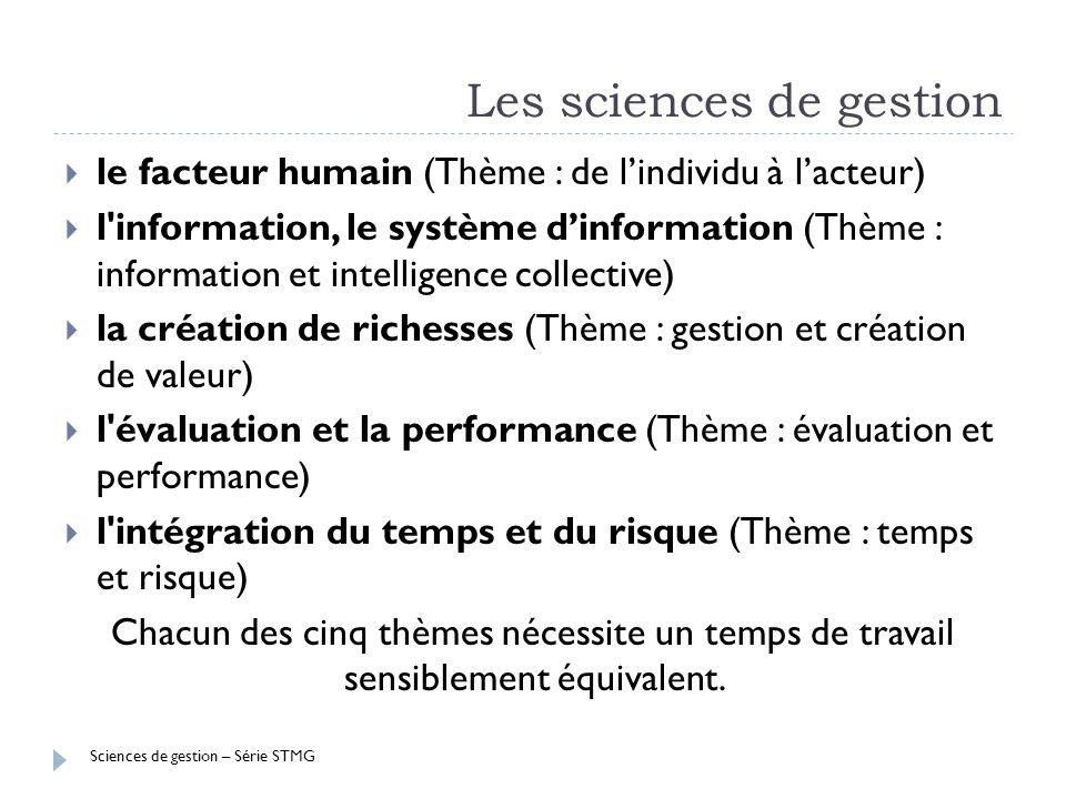 Sciences de gestion – Série STMG Les sciences de gestion le facteur humain (Thème : de lindividu à lacteur) l'information, le système dinformation (Th