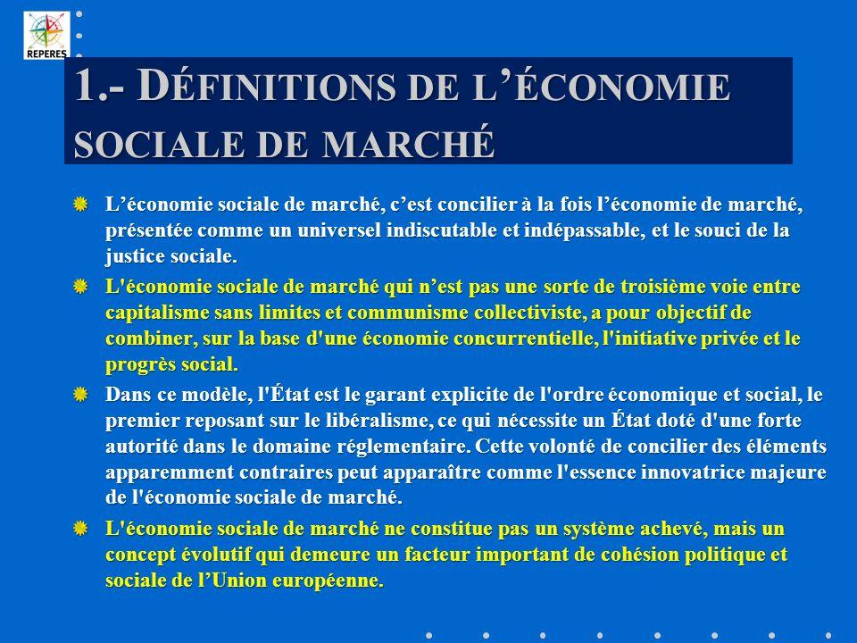 1.- D ÉFINITIONS DE L ÉCONOMIE SOCIALE DE MARCHÉ Léconomie sociale de marché, cest concilier à la fois léconomie de marché, présentée comme un univers