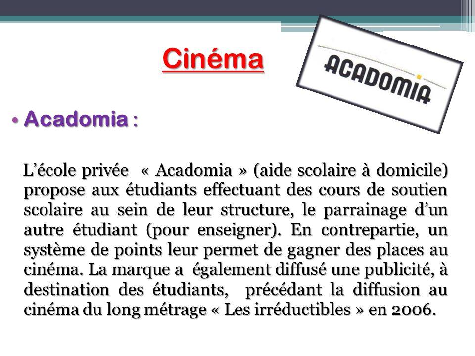 Cinéma Cinéma Acadomia : Acadomia : Lécole privée « Acadomia » (aide scolaire à domicile) propose aux étudiants effectuant des cours de soutien scolai